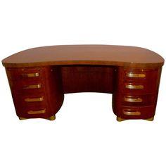 Art Deco Desk By Stow Davis Pedestal Base Professional Furniture
