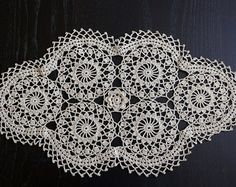 Hand Crocheted Doilie - Oval Doily - Tablecloth - Ecru Lace Doilie - Table Topper - Crochet Home Decor - Unique Crochet Gift - Ready To Ship