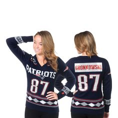00bd0ae8a Women s New England Patriots Rob Gronkowski Klew Navy Name and Number Ugly  V-Neck Sweater