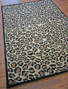 Kingdom Animal Prints Wool Handmade Leopard Beige Rug | Contemporary Rugs