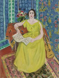 """The Woman in Yellow (LA FEMME EN JAUNE),"" 1923, Henri Matisse. Oil on canvas; 25¾ by 19⅞ in. (65.5 by 50.5 cm.) Sotheby's 2014 sale $8,565,000. http://www.thesterlingsilver.com/product/stuhrling-original-delphi-canterbury-automatic-skeleton-swarovski-cry"