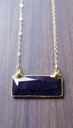 Midnight Goldstone Bar Gold Necklace OOAK by friedasophie on Etsy