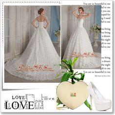 """Luxurious A-Line / Princess Sweetheart Chapel Train Fabric Rolling Flowers Beading Wedding Dress"" by weddingdressesforyou ❤ liked on Polyvore"
