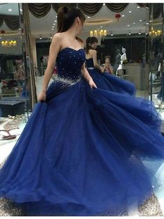 Modern Sweetheart Lace-up Floor Length Royal Blue Ball Gown Prom Dress with Beading
