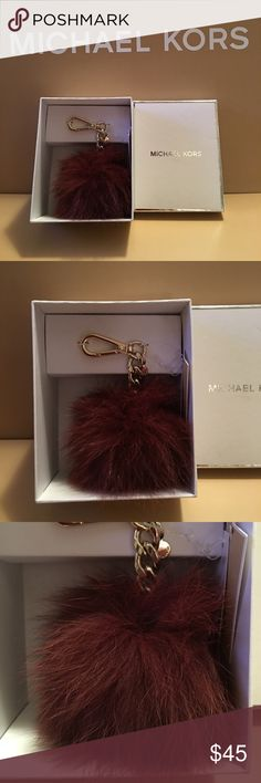 NWT - MICHAEL KORS LILAC FOX POM POM KEY FOB AUTHENTIC NEW WITH TAG. MICHAEL KORS (COLOR LILAC NICE SOFT PURPLE) KEY FOX FUR POM FOB. THIS IS TRENDING AND HOT! THIS COLOR IS BEAUTIFUL AND VERY FEMININE.  CAN BE USED FOR KEYS OR GOES WELL ON YOUR HANDBAG. THIS IS MEDIUM SIZE BALL NOT SMALL:-)  SILVER HARDWARE AND ALL MICHAEL KORS INSIGNIA:-)  COMES WITH WHITE BOX IN PIC:-)  THANKS FOR VIEWING AND SHARING MY CLOSET.  PLEASE COME BACK SOON AS I FREQUENTLY UPDATE MY CLOSET WITH NICE NEW ITEMS…