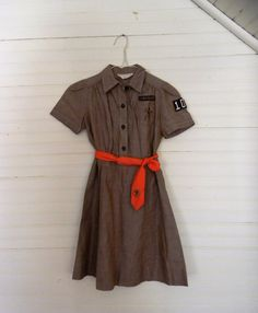 Vintage Girl Scouts / Brownies Uniform Dress by CarolinaVintageCo