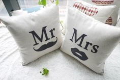 Mr and Mrs Set of 2 Pillow Covers Mr and Mrs by CoconutLime77