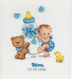 Baby Bottle Birth Sampler Cross Stitch Kit By Vervaco - Blue