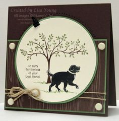 Doggie Sympathy Card by genesis - Cards and Paper Crafts at Splitcoaststampers | Stamps: Thoughts and Prayers and D is for Dog  Paper: Chocolate Chip, Wild Wasabi, Vanilla cardstock           Woodland Walk designer paper Ink: Basic Black, Chocolate Chip, Wild Wasabi, Old Olive Accessories: Big Shot, Clear Circle die, Natural Twine, Vanilla Brads, Library Clip, Signo Gel Pen