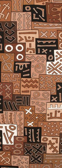 Africa | Detail from a piece of mud cloth from the Bamana people of Mali or Burkina Faso | Handspun local cotton and mineral dyes