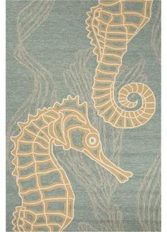 You can add a touch of nautical style to any indoor or outdoor space with the Jaipur Coastal Living Seahorse Rug. This rug is hand-hooked of plush, stain-resistant polypropylene, and it features a taupe seahorse pattern over a blue background. Nautical Rugs, Coastal Rugs, Coastal Living, Coastal Decor, Coastal Style, Coastal Bedding, Modern Coastal, Porches, Chic Beach House