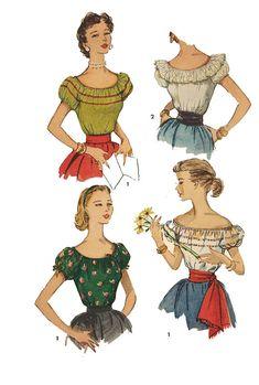 Vintage 1950's Sewing Pattern Peasant Gypsy Blouses Bust