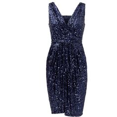 Rental Badgley Mischka Midnight Glamour Dress ($30) ❤ liked on Polyvore featuring dresses, blue, v neck sequin dress, v neck dress, sequin dress, blue dress and badgley mischka