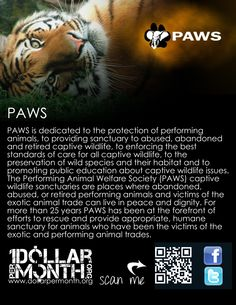 www.dollarpermonth.org March Charity Paws. PAWS is dedicated to the protection of performing animals, to providing sanctuary to abused, abandoned and retired captive wildlife, to enforcing the best standards of care for all captive wildlife, to the preservation of wild species and their habitat and to promoting public education about captive wildlife issues.