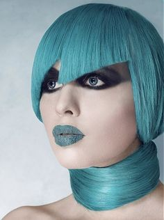 Seriously AVANT GARDE  long Teal straight coloured choppy blue-green aqua avant-garde hairstyles for women