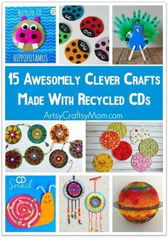 This Earth Day, get your family into recycling mode and turn trash into treasure by checking out these 15 Awesomely Clever Crafts with Recycled CDs Recycled Cd Crafts, Old Cd Crafts, Easy Crafts, Arts And Crafts, Diy Crafts With Cds, Spool Crafts, Recycled Glass, Recycled Materials, Crafts For Kids To Make