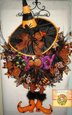 Spooky Witch Mesh Wreath with Hat and by StarlightWreaths on Etsy