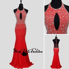 Sexy Red Long Keyhole Beaded Halter Straped Open Back Mermaid Dress from StayChicFashion on Etsy. Saved to Elegant Formal dress.