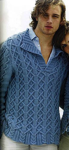 Men's Knitted V Neck Pullover Cable Sweater, Men Sweater, Cable Knitting, Hand Knitted Sweaters, Warm Outfits, Knitting Designs, Sweater Fashion, Pulls, Knitwear