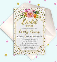 Bridal Shower Invitation Printable Modern Bridal by AlniPrints  #Bachelorette #Bridal #Shower #Invitation #brunch #idea #invite #Lingerie #party #dinner