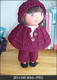 Autumn in Allegheny, 15 inch doll...Free pattern for hat...poncho...pants...white pullover sweater...