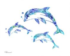 Dolphin print blue aqua dolphins dolphin by FluidDiamondArt https://www.etsy.com/listing/212161746/dolphin-print-blue-aqua-dolphins-dolphin?