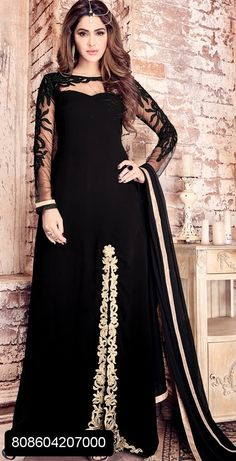 2f88f7c665dc Black georgette floor length gown suit with golden resham embroidery and zari  stone work on sleeves and neck work and golden border dupatta