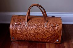 Leather tooled handbag