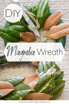 Make a beautiful DIY magnolia wreath from real magnolia leaves and an old pool noodle Home Decor Hacks, Diy Crafts Hacks, Diy Craft Projects, Home Crafts, Magnolia Wreath, Magnolia Leaves, Diy Home Furniture, Diy Furniture Projects, Pool Noodle Wreath