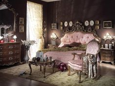 Victorian room  gingerbreadish, brass, rosewood furniture, trims, formal symmetry, deep and elaborate colors, and very feminine, curve floral patterns that represent lace, and velvet sitting cushions