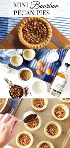 Mini Bourbon Pecan Pies These miniature desserts are the perfect Thanksgiving recipe. Mini Bourbon Pecan Pies are easy to make. They are sweet and crunchy deliciousness! Pecan Desserts, Mini Desserts, Dessert Recipes, Pecan Recipes, Dessert Ideas, Mini Pecan Pies, Mini Pies, Thanksgiving Desserts, Christmas Desserts