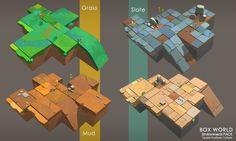 ArtStation - box world art material, zhang zhevuan 2d Game Art, Video Game Art, Bg Design, Game Design, Minimal Design, Environment Map, Tiles Game, Game Concept Art, Game Item