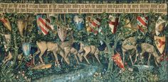 Verdure with Deer and Shields, accompaniment to the Holy Grail tapestries woven by Morris & Co. 1891-94 for Stanmore Hall. This version woven by Morris & Co. 1900 for Mrs. J. T. Middlemore. Wool and silk on cotton warp. Birmingham Museum and Art Gallery. John Henry Dearle after Sir Edward Burne-Jones, overall design and William Morris, heraldry.