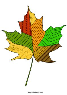 foglia-autunno-linee-punti Autumn Crafts, Autumn Art, Autumn Leaves, Halloween Crafts For Toddlers, Halloween Art, Fall Coloring Pages, Mandala Art Lesson, Leaf Drawing, Ecole Art