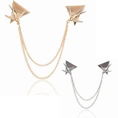 Triangle Swallow Link Neck Clip Shirt Collar Tip Chain Coat Brooch Pin Jewelry #Handmade #CasualPartygiftCocktailClubPromProm
