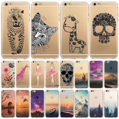 """Phone Case Cover For iPhone 6 6s 4.7"""" Ultra Soft TPU Transparent Flowers Animals Scenery Patterns City Design Mobile Phone Bag"""