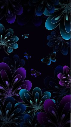 Black Wallpaper: Dark Flowers and Butterfly Wallpaper