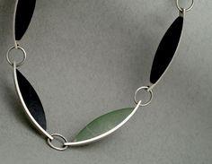 JL648  Basalt & pounamu 'curve' necklace - stg silver, basalt, pounamu  $675
