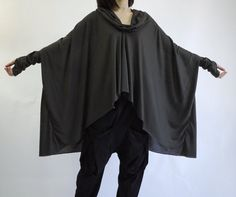 Plus Size Funky Boho Longsleeve Cowl Neck Dark Charcoal Cotton Mix Polyester Blouse Tunic Sweater Tee Women Top With Asymmetrical Hem- TN010
