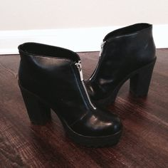 zip up platform boots Worn only once. Great Condition. Size 7.5, runs slightly small, so it fits size 7 just fine. Comfortable. Sanitized. No Hold. No Trade. Price is Firm. Mossimo Supply Co. Shoes Ankle Boots & Booties