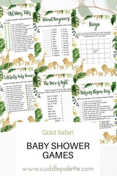 Enjoy these baby shower games. Old wives tales, Animal Pregnancy, Bingo, Celebrity Baby Names, The Price is Right, Nursery Rhyme Quiz and more! Let's get wild with this Gold Safari Baby Shower Games Theme. Baby Shower Games, Baby Shower Parties, Baby Showers, Shower Party, Who Knows Mommy Best, Celebrity Baby Names, Wives Tales, Whats In Your Purse, Safari Animals