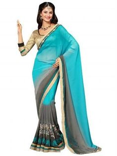 Multi Embroidery With Heavy Border Georgette Jacquard Saree