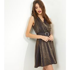 New Look Mela Gold Metallic Belted Dress (£20) ❤ liked on Polyvore featuring dresses, gold, night out dresses, metallic party dress, gold party dress, metallic dress and white party dresses