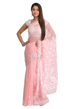 Ada Hand Embroidered Peach Faux Georgette Lucknow Chikan Saree With Blouse - A129552 Price Rs.2,290.00 #Ada_Chikan #georgette lakhnavi saree #chikan saree designs #chicken saree #peach chikan saree #ada chikan saree #online chikan store #lakhnavi work sarees #lucknow chikan saree online #ada chikankari sarees #chikankari designer wear #lucknow chikankari sarees #lucknow chikan work #lucknowi hand embroidery #for women