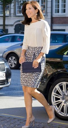 ~ Crown Princess Mary of Denmark in a stunning blue and white outfit.