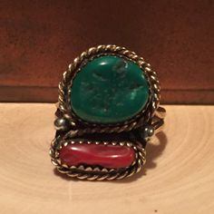 Vintage Turquoise Coral Southwest Style Sterling Silver Ring  https://www.etsy.com/listing/260608450/vintage-turquoise-coral-southwest-style?utm_source=socialpilotco  #jewelry #ring #coral #turquoise