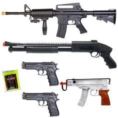 NEW Lot of 5 Airsoft Guns Rifle Shotgun Machine Pistols & 1000 BBs spring action airsoft guns w/ plastic BB's Star Citizen, Pistola Nerf, M16 Rifle, Nerf Rifle, Golf Tiger Woods, Frat Coolers, Hunting Rifles, Airsoft Guns, Shotguns