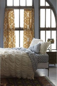 eclectic bedroom Anthropologie Home Dream Bedroom, Home Bedroom, Pretty Bedroom, Shabby Bedroom, Shabby Cottage, Shabby Chic, Yellow Curtains, Patterned Curtains, Patterned Sheets