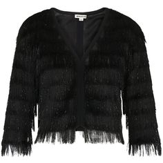 Whistles Sparkle Fringe Jacket, Black (£120) ❤ liked on Polyvore featuring outerwear, jackets, short-sleeve jackets, sparkly jacket, whistles jacket and fringe jackets