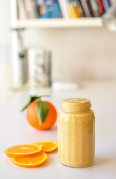 sunshine smoothie with greek yogurt and orange